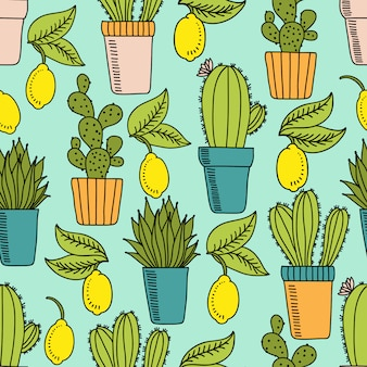 Seamless pattern with cactus and lemons