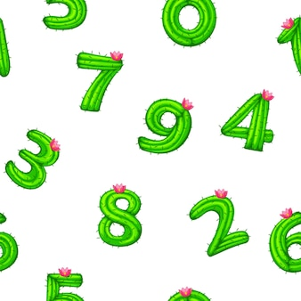 Seamless pattern with cactus numbers for ui game, school. vector illustration textural background kid with numbers with a flower.