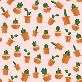 Бесшовный фон с кактусами.