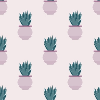 Seamless pattern with cactus in pot on light background.