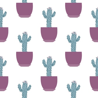 Seamless pattern with cactus in pot on white background.
