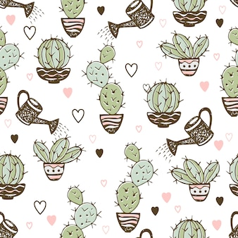 Seamless pattern with cactus in pots and watering pot for irrigation.