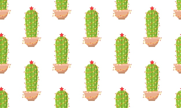 Seamless pattern with cactus with new year garland.