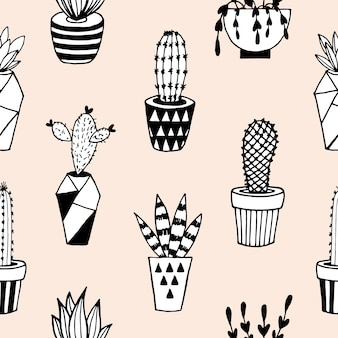 Seamless pattern with cactus.