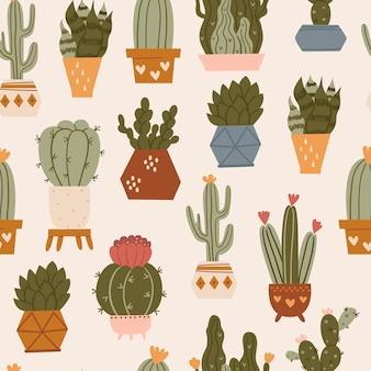 Бесшовный фон с кактусами и суккулентами. текстура для текстиля, упаковки, оберточной бумаги