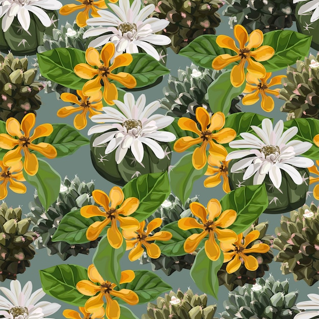 Seamless pattern with cactuses and gardenia carinata wallich