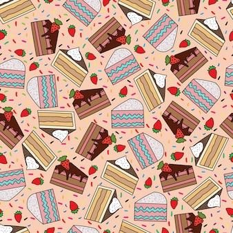 ケーキとのシームレスなパターン。