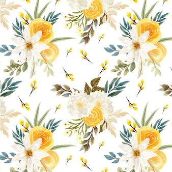 Seamless pattern with camomiles and yellow roses
