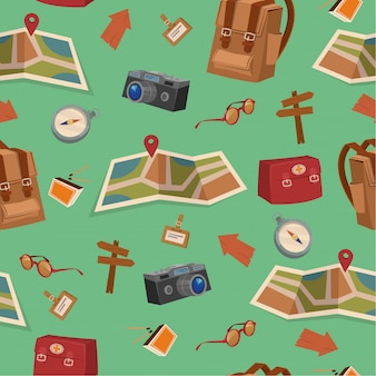 Seamless pattern with camping elements