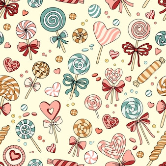 Seamless pattern with candy and lollipops