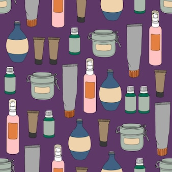 Seamless pattern with cans, bottles and vials