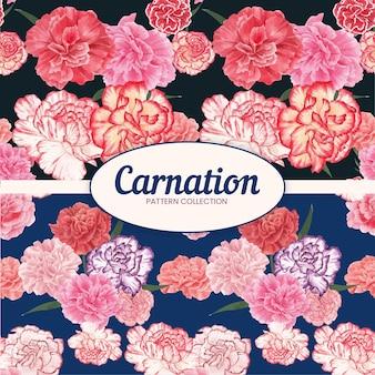 カーネーションの花のコンセプト、水彩風のシームレスなパターン
