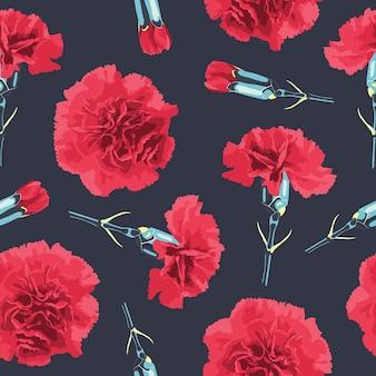 카네이션 꽃으로 완벽 한 패턴입니다. 현실적인 붉은 꽃과 꽃 배경입니다.