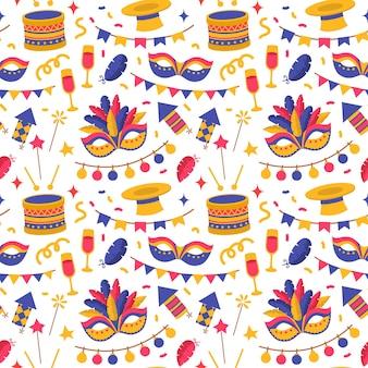 Бесшовный фон с карнавальными символами, плоский стиль, элементы венецианского карнавала