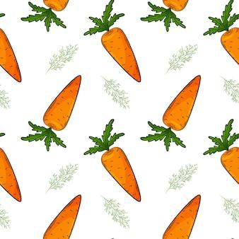 Бесшовный фон с морковью и укропом.