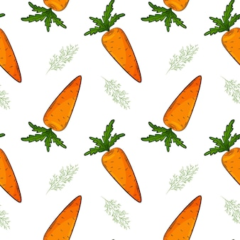 Seamless pattern with carrot and dill.