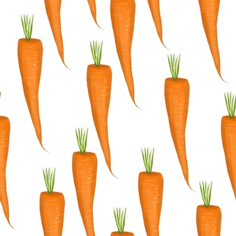 Seamless pattern with carrots, hand drawn