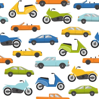 Seamless pattern with cars and motorbikes