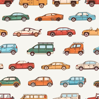 Seamless pattern with cars of various body configuration styles