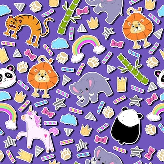 Seamless pattern with cartoon animal