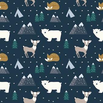 Seamless pattern with cartoon animal.
