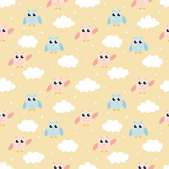 Seamless pattern with cartoon baby owls