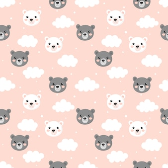 Seamless pattern with cartoon baby teddy bears