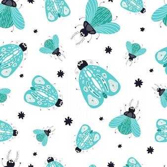 Seamless pattern with cartoon bug, beetle
