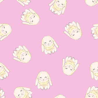 Seamless pattern with cartoon bunnies for kids. abstract art print.