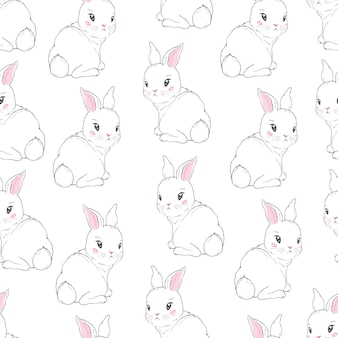 Seamless pattern with cartoon bunnies