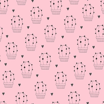 Seamless pattern with cartoon cacti, hearts.