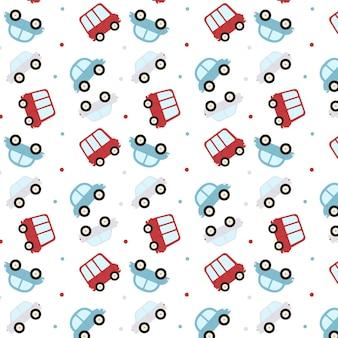 Бесшовный фон с фоном мультяшных автомобилей. векторная иллюстрация.