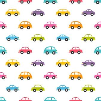 Бесшовный фон с мультяшными автомобилями