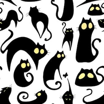 漫画の猫とのシームレスなパターン