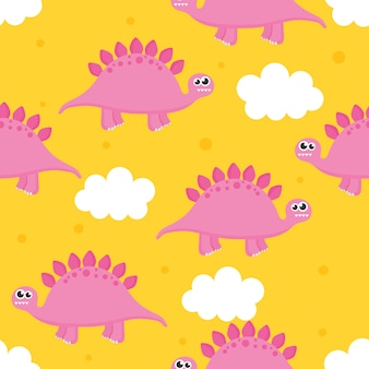 Seamless pattern with cartoon cute dinosaur and clouds for kids. animal on yellow background.