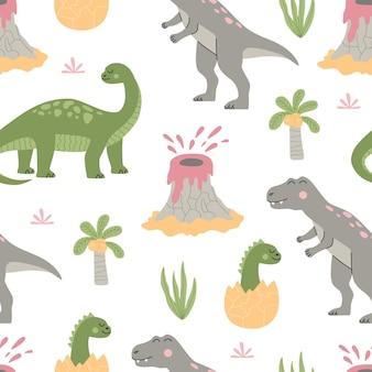 만화 귀여운 공룡, 열대 식물, 야자수, 화산과 함께 매끄러운 패턴입니다. 다채로운 동물 흰색 배경에 고립입니다. 트렌디 한 플랫 스타일의 손으로 그린 벡터 일러스트 레이 션.