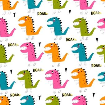 Бесшовный фон с мультяшными динозаврами