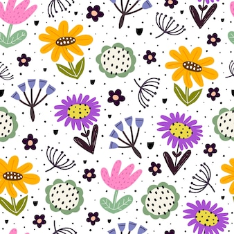 만화 꽃 나뭇가지와 함께 완벽 한 패턴