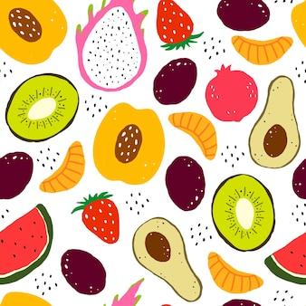 漫画の果物とのシームレスなパターン