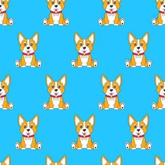 Seamless pattern with cartoon funny dog corgi sitting on blue background