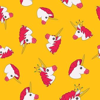 Seamless pattern with cartoon funny fairy princess unicorn on yellow background