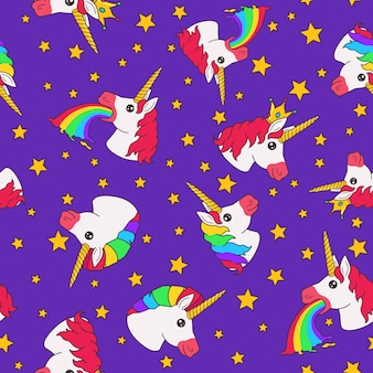 Seamless pattern with cartoon funny fairy unicorn and stars on purple background