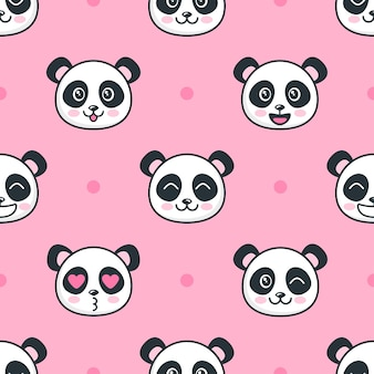 Seamless pattern with cartoon funny panda faces