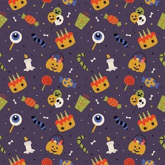 Seamless pattern with cartoon halloween on purple background