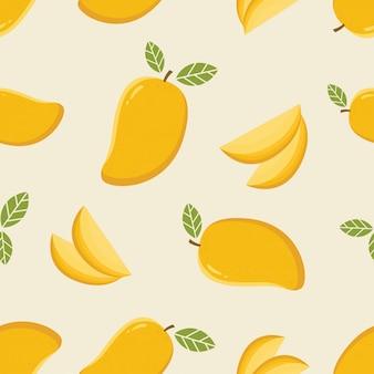 Seamless pattern with cartoon mango