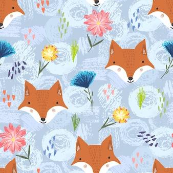 Seamless pattern with cartoon orange foxes