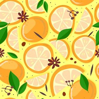 漫画のオレンジとのシームレスなパターン手描き