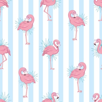 Seamless pattern with cartoon pink flamingo