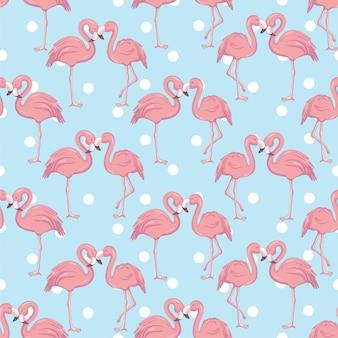 Seamless pattern with cartoon pink flamingo
