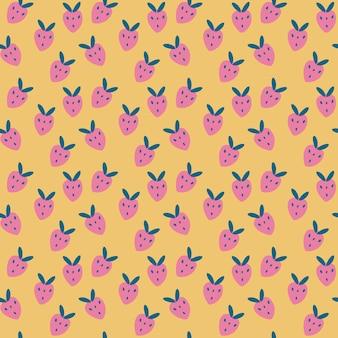 漫画のピンクのイチゴとのシームレスなパターン黄色の背景熟したイチゴ